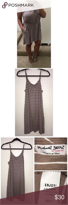 Michael Stars Cotton Dress Pre•loved Michael Stars Cotton Dress. One size fits most. Can be tied at the waist. Two front pockets. Brown/White color. EUC Michael Stars Dresses