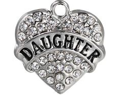 2 Daughther Charms, Rhinestone Daughter Pendant 20mm, Rhinestone Daughter Heart Charms, Silver Tone Daughter Charms, Heart Charm, C64 by vickysjewelrysupply. Explore more products on http://vickysjewelrysupply.etsy.com