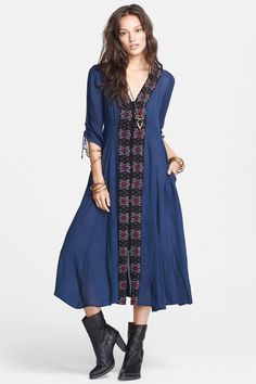 Free People | 'Journey Horizon' Embroidered Fit & Flare Midi Dress | Nordstrom Rack