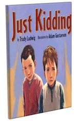 "Just Kidding by Trudy Ludwig. D.J.'s friend Vince has a habit of teasing people and then saying, ""Just kidding!"" as if this statement will make everything okay. But D.J. feels that Vince's jokes often have a ""sharp edge"" that can ""cut you into pieces."" With the help of his father, brother, and teacher, D.J. learns to take positive action in response to the harmful teasing and two seemingly harmless words, ""Just kidding!"" Full lesson plan at http://witsprogram.ca/schools/books/just-kidding.php"