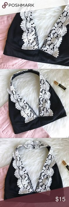 • URBAN OUTFITTERS black crochet halter bralette • Out From Under from Urban Outfitters! Black cotton stretchy fabric with light cream crochet trim! Clasp in the back. Worn once and in perfect condition! So sweet! Urban Outfitters Intimates & Sleepwear Bras