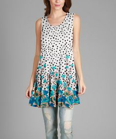 Look what I found on #zulily! White & Turquoise Floral Polka Dot Sleeveless Tunic - Plus #zulilyfinds