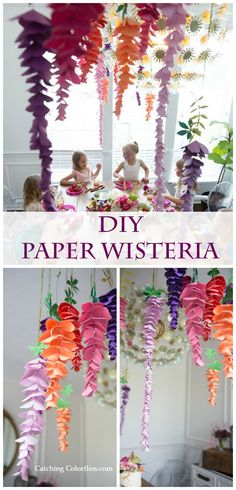 DIY paper flowers. Paper hanging wisteria templates. Fairy birthday party ideas.