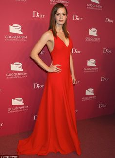 Inspiration: Emily Blunt was the image of glamour in a perfectly tailored red gown at the Guggenheim International Gala Dinner in New York on Thursday