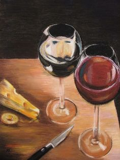 "Original PASTELS art piece ""wine and cheese"", red, yellow, pink, brown. $200.00, via Etsy."