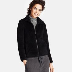 WOMEN FLUFFY YARN FLEECE FULL ZIP JACKET, BLACK