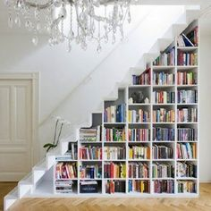 In homes where a narrow staircase makes a powder room or worktable infeasible, a fabulous bookcase can be built in with ease.