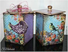 `Птички))` шкатулки. Набор из двух деревянных шкатулок, декорированы в технике декупаж. Чудесный новогодний…