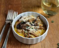 Polenta with Mushrooms and Cheese (Side Dish) -- Ingredients:  Dried Porcini Mushrooms, Cornmeal, Cremini or White Mushrooms, Mozzarella, Cheddar, Basil or Marjoram (optional)