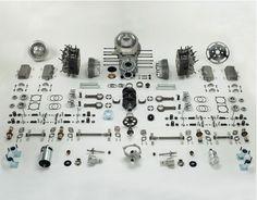 Porsche 356 engine in parts