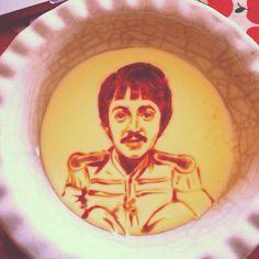 Paul McCartney in custard #vlaart #foodart Sgt.Pepper's Lonely Hearts Club Band