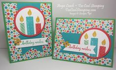 Stamp-of-the-Month Build A Birthday cards.  Stampin' Up, cards, birthday, candles. #toocoolstamping
