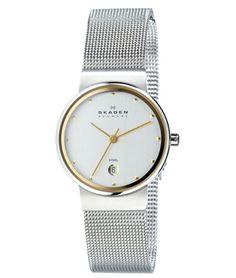 Skagen 355SGSC Women's Denmark Two Tone Mesh Bracelet Silver Dial Quartz Watch