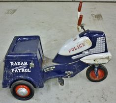 1950s Vintage Murray Radar Patrol Pedal 3 Wheel Motorcycle Police Scooter