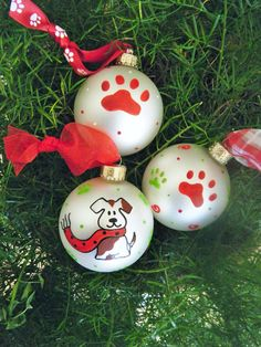 Personalized Dog Ornament Set - Puppy and Paw Print Christmas Ornaments - Handpainted Glass Ball Ornaments
