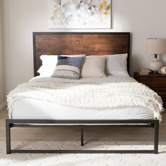 Baxton Studio Santa Rustic Industrial Black Finished Metal Coco Brown Wood Full Size Platform Bed Santa full size bed is a solid wood and steel piece. The stippled black powder coated steel frame has strong, angular industrial Industrial Platform Beds, Rustic Platform Bed, Queen Size Platform Bed, Full Platform Bed, Metal Platform Bed, Bedroom Furniture Stores, Bed Furniture, Furniture Deals, Steel Furniture