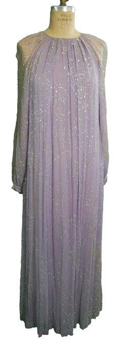 1970s Vintage Oscar de la Renta Silk Chiffon Gown
