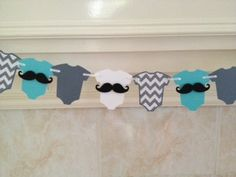 Baby Shower Decor, Little Man Baby Shower, Mustache Bash, Little Man Garland, Mustache Baby, Mustache Garland, Teal and Gray Baby by PaperStrip on Etsy https://www.etsy.com/listing/185914957/baby-shower-decor-little-man-baby-shower