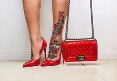 I did it my yummy garter is done leg tattoo for Blac chyna leg tattoo