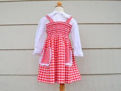 140f38e1bd1c Vintage Polly Flinders Dress, Girl's Hand Smocked Dress, Size 8, Red and  White Gingham with Eyelet Trim, Swiss Miss, 1960s-1970s