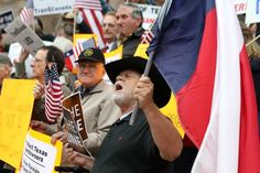February 2012: Eddy Radillo was among dozens of Texans who rallied outside the Lamar County Courthouse in Paris, Texas, against plans to condemn land for an easement for the proposed Keystone XL oil pipeline.