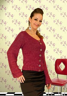 Knitted cardigan. Yarn: DROPS Alpaca and DROPS Kid-Silk. Pattern in Norwegian.