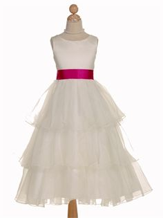 Satin Organza with Sash Tea Length Flower Girl Dress FGD1089 www.dresseshouse.co.uk £43.0000