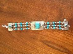 Edward Dare Gallery Anne  Bivens Triple Strand Turquoise Bracelet Set in Silver