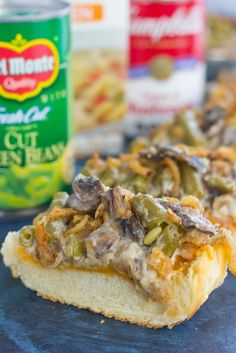 This Green Bean Casserole Cheesy Bread puts a creative spin on the classic holiday side dish. The zesty casserole is made in just one pan, piled on top of toasted cheesy bread, and then baked until warm and bubbly. This simple dish is fast, fresh, flavorful and will become the hit of the dinner table! #GiveThanksBeFull #ad @target