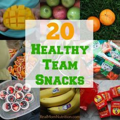 20 Healthy Team Snacks for Kids 20 Healthy Team Snacks for Kids - Real Mom Nutrition<br> Need ideas for healthy team snacks? Get this free printable full of ideas. Football Team Snacks, Sport Snacks, Baseball Snacks, Kid Snacks, Baseball Mom, Flag Football, Softball Mom, Fruit Snacks, Easy Healthy Breakfast