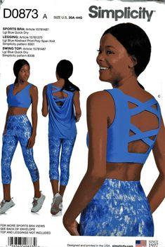 58f3b163db44a1 Misses' Leggings, Sports Bra & Swing Top Simplicity Pattern Uncut