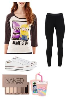 """Minions #nofilter"" by jellybeans05 ❤ liked on Polyvore featuring beauty, Hybrid Tees, Skinnydip, Peace of Cloth, Urban Decay and Converse"