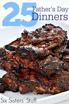Our Top 25 Father's Day Dinners from SixSistersStuff.com, all in one place. These are meals your men will love!