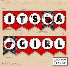Ladybug Baby Shower Banner It's a Girl Red by JannaSalakDesigns