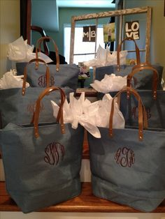 Give the bridesmaids monogrammed bags with goodies inside as a gift for being apart of your big day! So doing this!