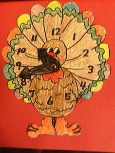 Make a turkey clock for Thanksgiving. Students can move the hands on the clock to help them learn how to tell time.
