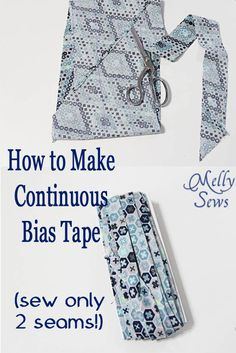 Bias tape tutorial showing how to make continuous bias tape with only 2 seams to sew.