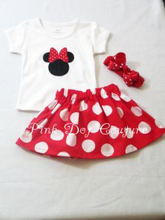 Boutique Clothing - Big Dot Red Minnie Mouse Skirt and Top Set  - Baby Dress - Toddler Dress - Girls Dress Pattern - Nursery -  6M to 6T on Etsy, $49.95