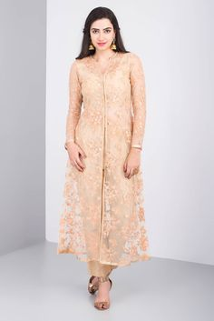 Rent THE PEACH PROJECT - Beige Net Embroidered Kurta Indian Gowns Dresses, Pakistani Dresses, Net Dresses, Churidar Designs, Kurta Designs Women, Dress Neck Designs, Blouse Designs, Net Kurti, Kurti With Jacket