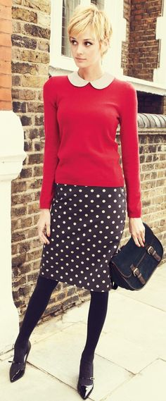 Red knit with white peter pan collar paired with black and white polka dotted pencil skirt