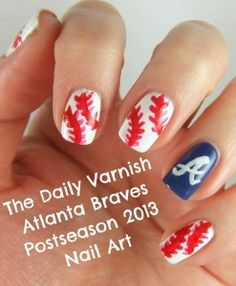 Atlanta Braves Nail Art Do in Dodgers, Giants, of M's. Baseball Nails, Braves Baseball, Atlanta Braves, Toe Nails, Swagg, How To Do Nails, Pretty Nails, Hair And Nails, Body Art