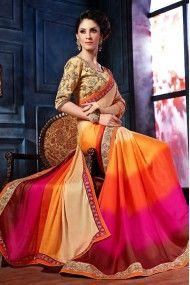 Chiffon Satin Designer Saree In Orange and Pink Colour