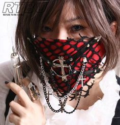 Visual Kei Red PU Leather Perforated Net Overlay Cross Goth Punk Larp Face Mask