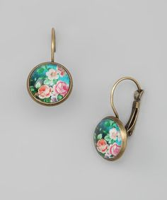 Take a look at this Turquoise & Pink Rose Garden Earrings by Gleeful Peacock on #zulily today!