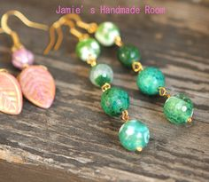 Green Collection Green Agate Natural Gemstone Earrings Jamie's Hand Made