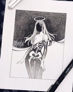 Inktober Art Inspiration & Ideas by Feefal Creepy Drawings, Dark Art Drawings, Creepy Art, Art Drawings Sketches, Cool Drawings, Pencil Art Drawings, Arte Horror, Horror Art, Arte Sketchbook
