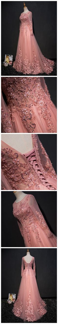 CHIC A-LINE SCOOP PINK MODEST APPLIQUE LONG PROM DRESS EVENING DRESS AM755 #amyprom  #fashion #party #evening #chic #promdress #promdresslong #longpromdress #eveningdress  #pink