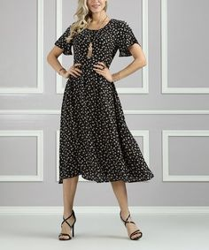 856e1e160e0d Another great find on #zulily! Black Floral Keyhole-Back Midi Dress - Women