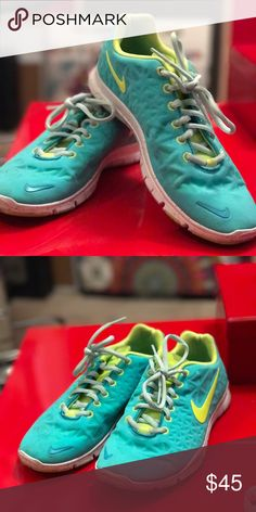 Nike free trainer fit 3 Slightly worn Nike free trainer shoes. Light blue with a neon yellow. Nike Shoes Athletic Shoes