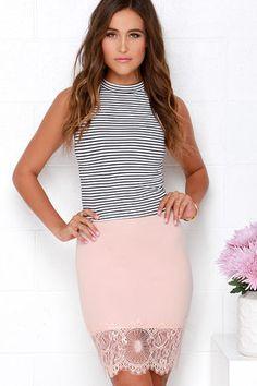 Chic Blush Pink Skirt - Lace Skirt - Bodycon Skirt - $34.00